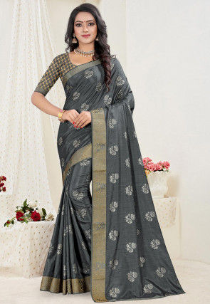 Foil Printed Art Silk Saree in Grey