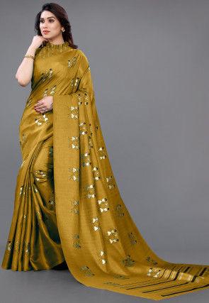 Foil Printed Art Silk Saree in Mustard