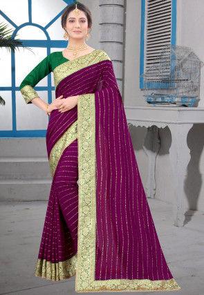 Foil Printed Art Silk Saree in Purple