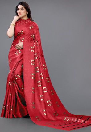 Foil Printed Art Silk Saree in Red