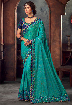 Foil Printed Art Silk Saree in Turquoise