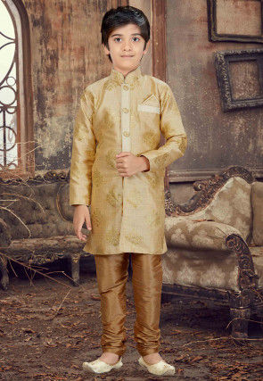 Foil Printed Art Silk Sherwani in Beige