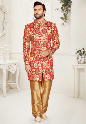 Foil Printed Art Silk Sherwani in Red