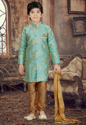 Foil Printed Art Silk Sherwani in Sea Green