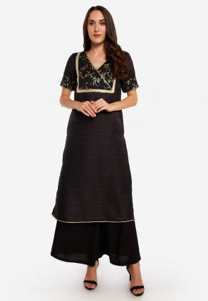 Foil Printed Art Silk Straight Kurta in Black