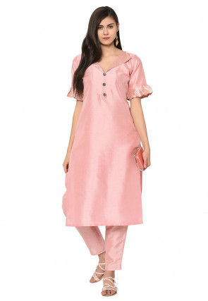 Foil Printed Art Silk Straight Kurta in Peach