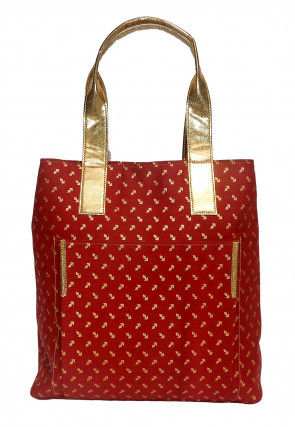 Foil Printed Canvas Tote Bag in Red