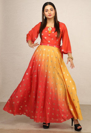 Foil Printed Chanderi Silk Flared Gown in Orange and Yellow