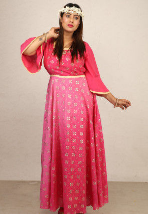 Foil Printed Chanderi Silk Flared Gown in Pink Ombre