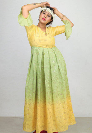 Foil Printed Chanderi Silk Flared Gown in Yellow and Green