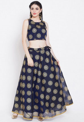 Foil Printed Chanderi Silk Lehenga in Navy Blue