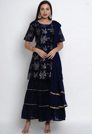Foil Printed Chanderi Silk Pakistani Suit in Navy Blue