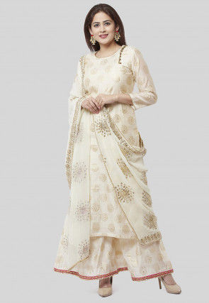 Foil Printed Chanderi Silk Pakistani Suit in Off White