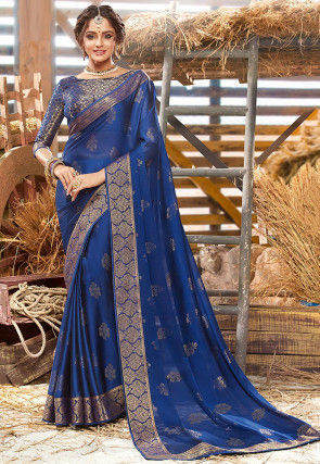 Foil Printed Chiffon Saree in Dark Blue