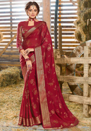 Foil Printed Chiffon Saree in Maroon