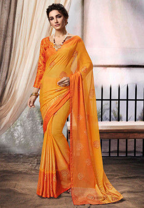 Foil Printed Chiffon Saree in Mustard