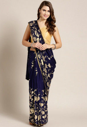 Foil Printed Chiffon Saree in Navy Blue