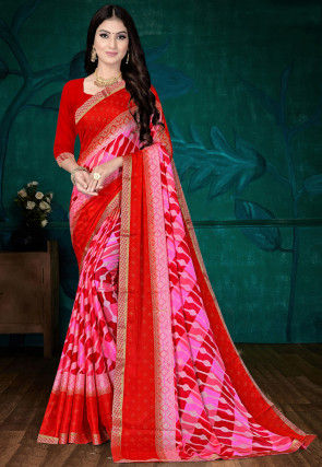Foil Printed Chiffon Saree in Red and Pink
