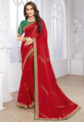 Foil Printed Chiffon Saree in Red