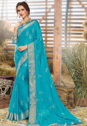 Foil Printed Chiffon Saree in Turquoise