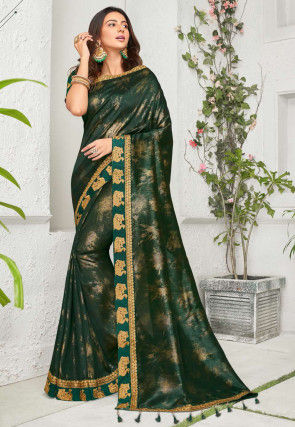 Foil Printed Chinon Chiffon Saree in Dark Green