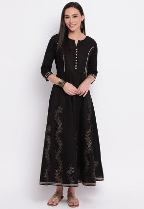 Foil Printed Cotton Anarkali Kurta in Black