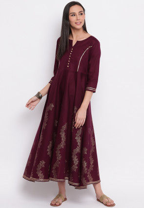 Foil Printed Cotton Anarkali Kurta in Wine