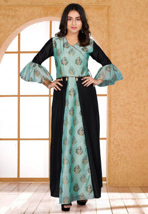 Foil Printed Cotton Chanderi Gown in Sky Blue and Black