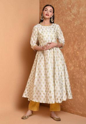 Foil Printed Cotton Chanderi Kurta in Off White
