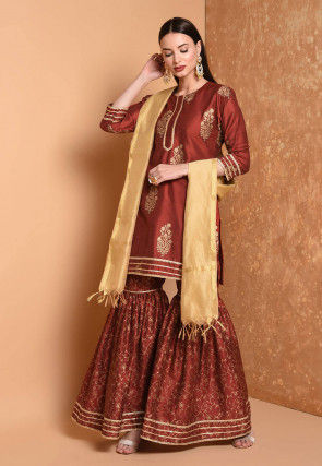 Foil Printed Cotton Chanderi Pakistani Suit in Maroon
