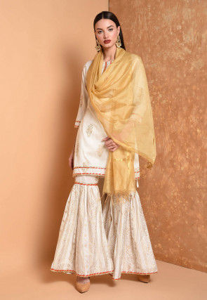Foil Printed Cotton Chanderi Pakistani Suit in Off White