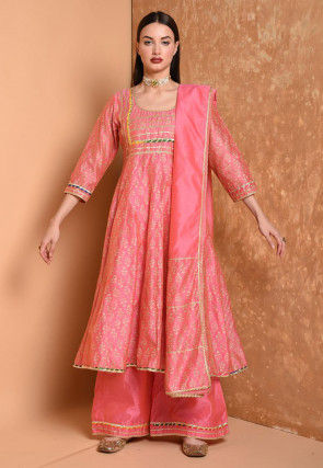 Foil Printed Cotton Chanderi Pakistani Suit in Pink