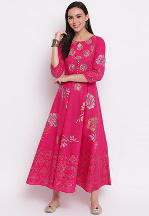 Foil Printed Cotton Flared Kurta in Fuchsia