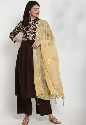 Foil Printed Cotton Pakistani Suit in Dark Brown