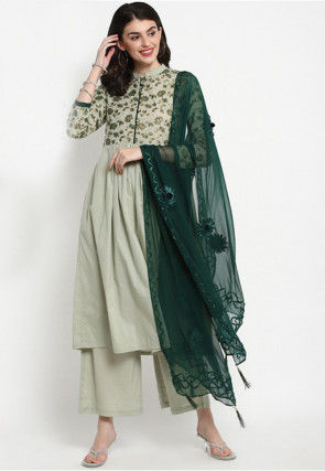 Foil Printed Cotton Pakistani Suit in Dusty Green