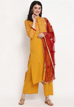 Foil Printed Cotton Pakistani Suit in Mustard