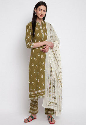 Foil Printed Cotton Pakistani Suit in Olive Green