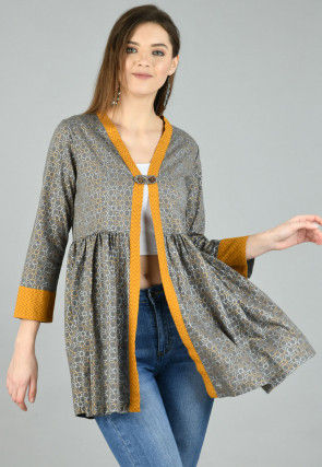 Foil Printed Cotton Peplum Style Jacket in Grey
