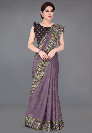 Foil Printed Cotton Saree in Dusty Lilac