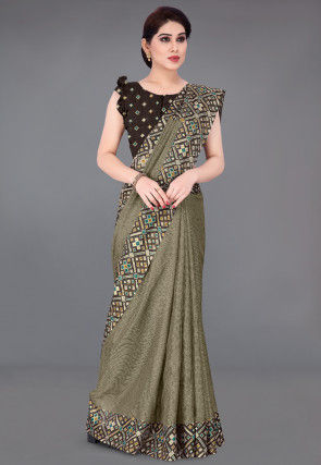 Foil Printed Cotton Saree in Fawn