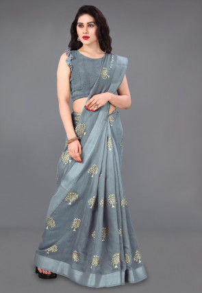 Foil Printed Cotton Saree in Grey