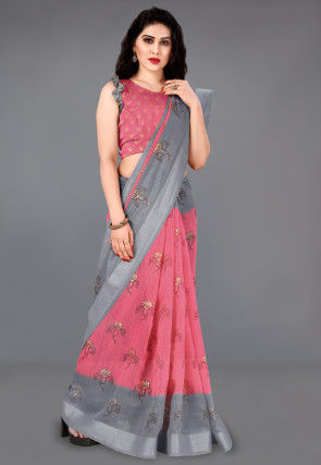 Foil Printed Cotton Saree in Pink and Grey