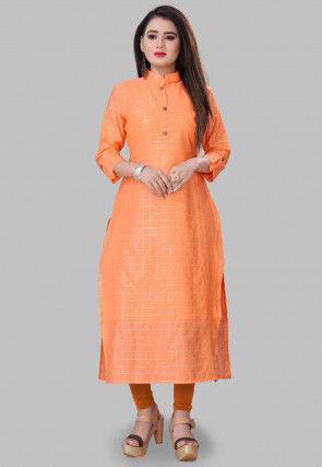 Foil Printed Cotton Silk Kurta in Orange