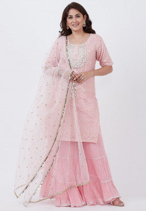 Foil Printed Cotton Silk Pakistani Suit in Baby Pink
