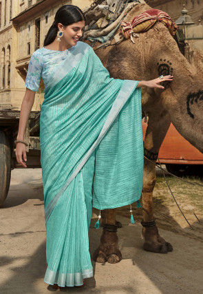 Foil Printed Cotton Silk Saree in Light Teal Green