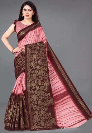 Foil Printed Cotton Silk Saree in Pink and Maroon