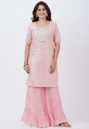 Foil Printed Cotton Silk Straight Kurta Set in Baby Pink