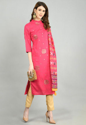Foil Printed Cotton Straight Suit in Fuchsia