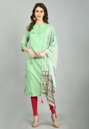 Foil Printed Cotton Straight Suit in Pastel Green