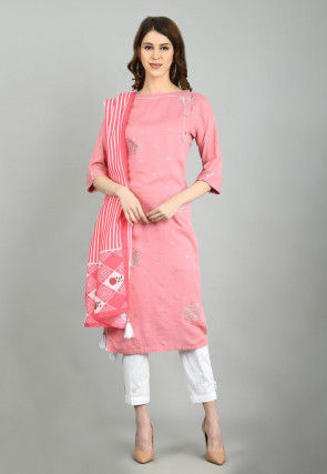 Foil Printed Cotton Straight Suit in Pink